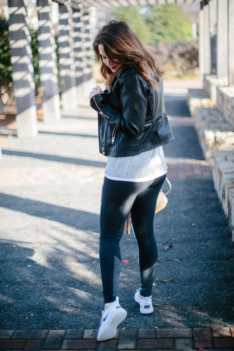 workout leggings and leather jacket // www.polishedclosets.com