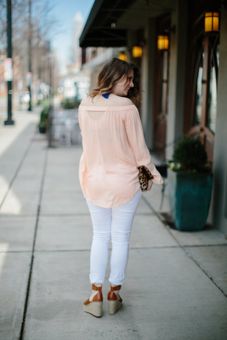 Pink Off the Shoulder Tunic Top by fashion blogger Maggie from Polished Closets