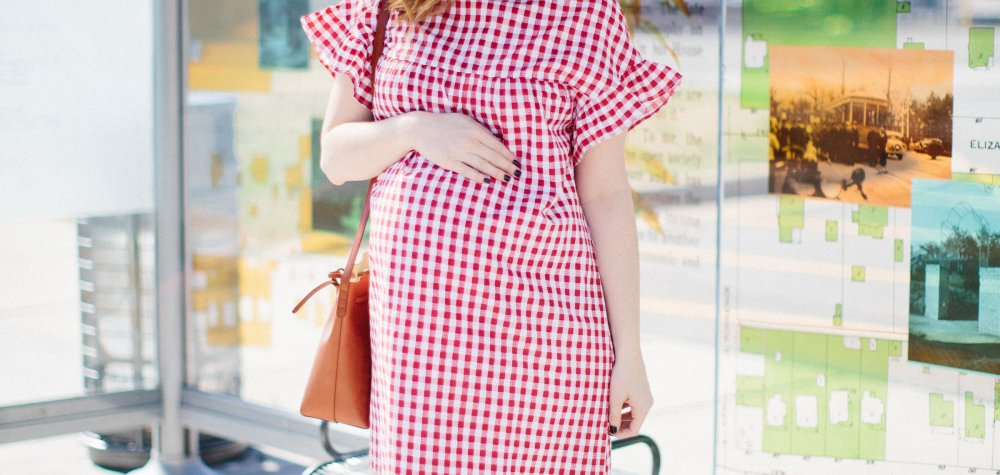Classic Gingham: Red Maternity Dress