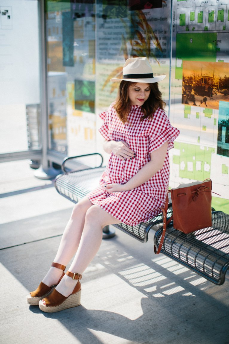 Classic Gingham: Red Maternity Dress by fashion blogger Maggie of Polished Closets