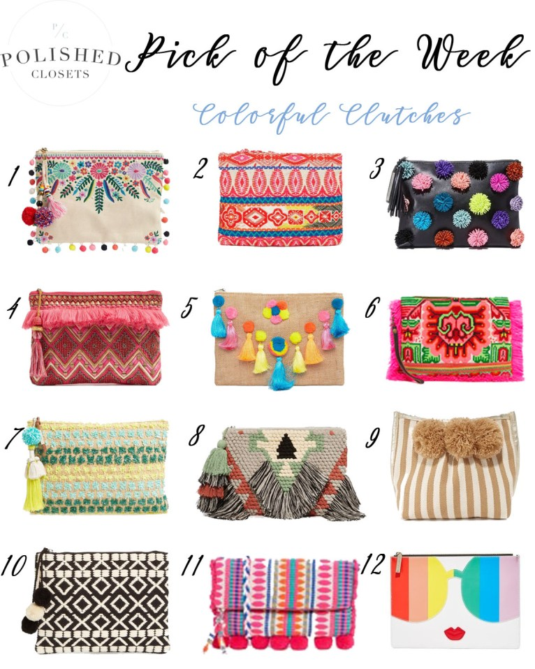 colorful clutches // www.polishedclosets.com