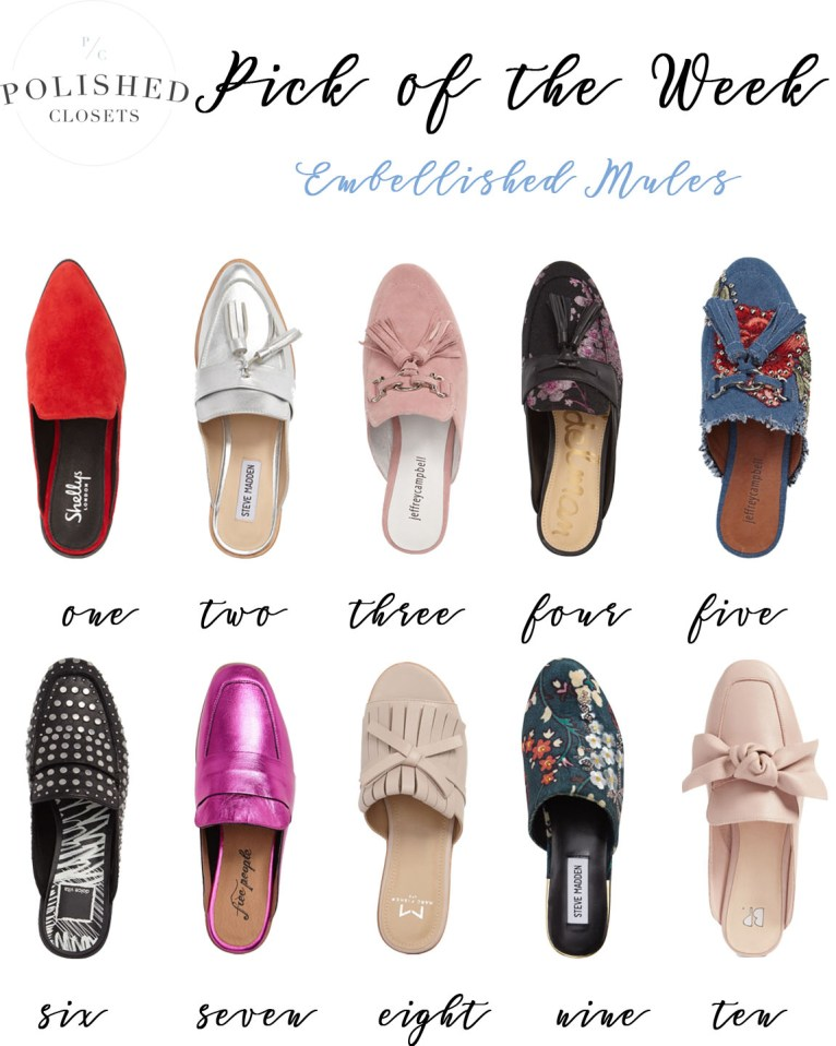 Pick of the Week: 10 Pairs of Embellished Mules Shoes by Maggie from Polished Closets