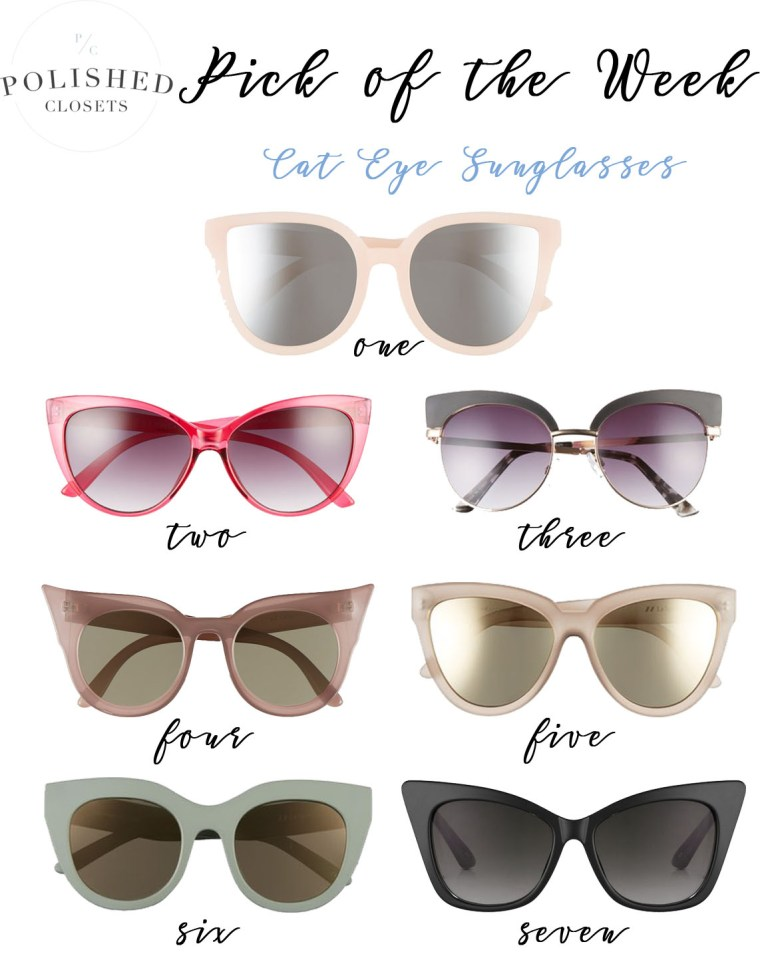 Pick of the Week: 7 Cat Eye Sunglasses under $70 by fashion blogger Maggie of Polished Closets