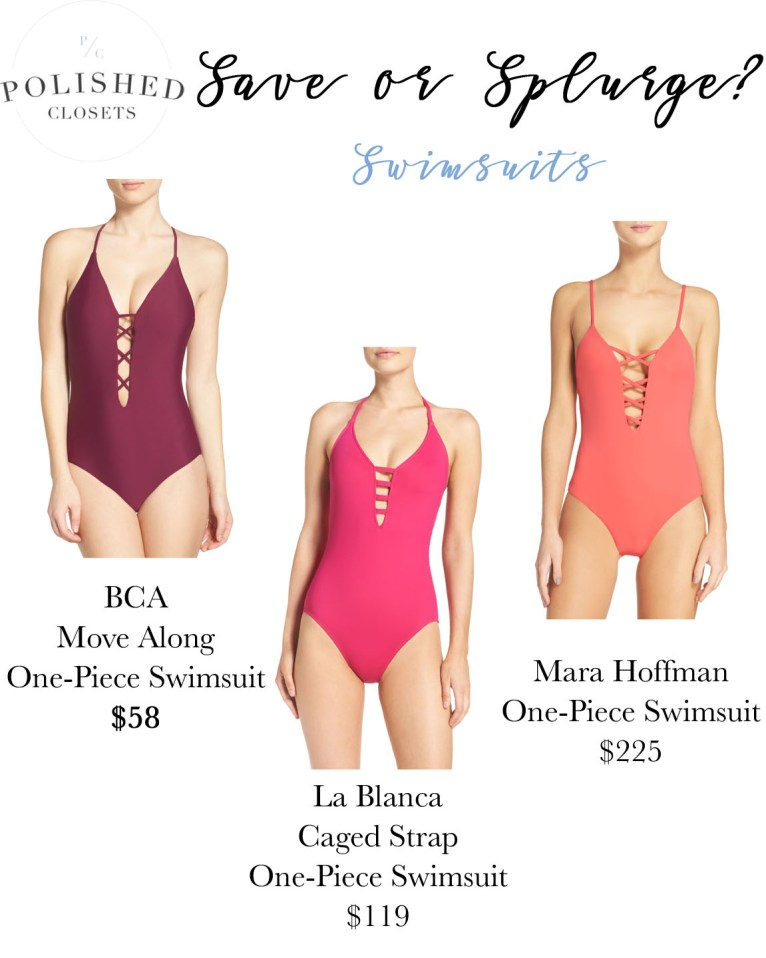 Save or Splurge? The One Piece Swimsuit by fashion blogger Maggie of Polished Closets