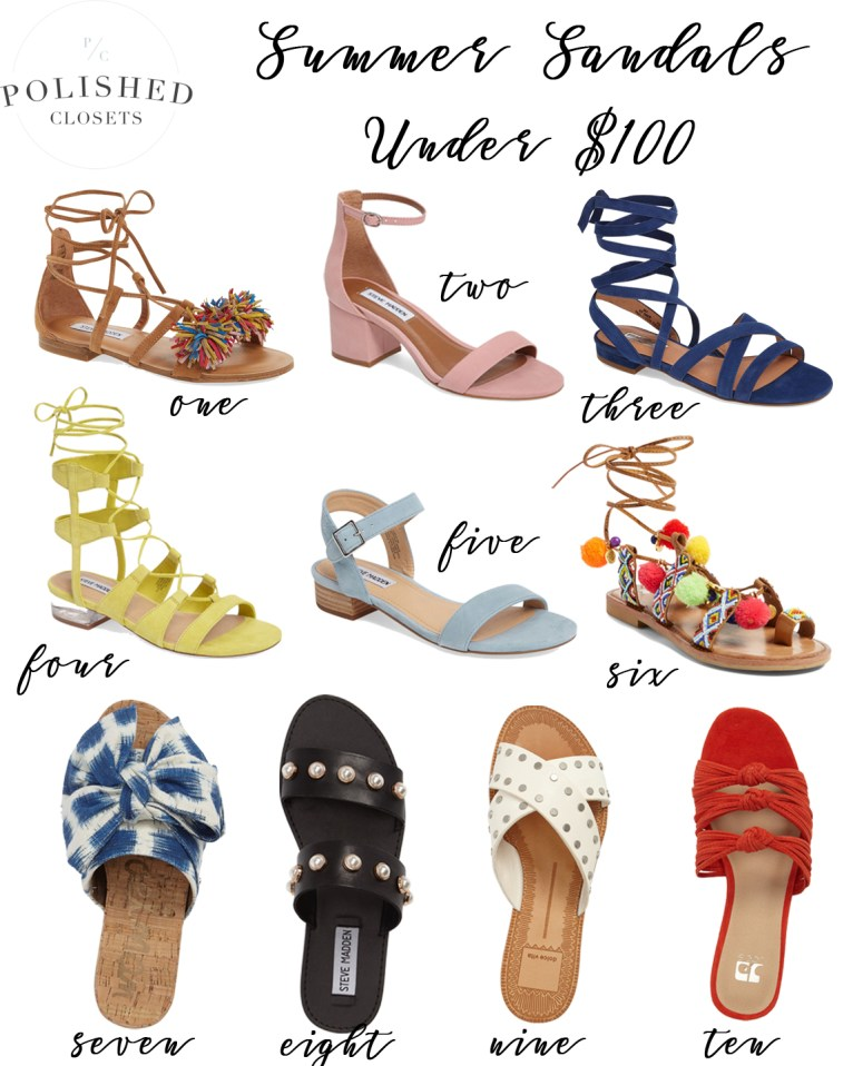 Cheap Summer Sandals Under $100 by fashion blogger Maggie of Polished Closets