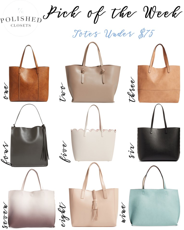 Pick of the Week: Cheap Totes under $75 by fashion blogger Maggie of Polished Closets