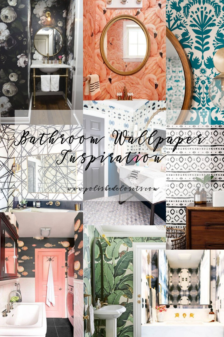 Bathroom Wallpaper Ideas by blogger Maggie of Polished Closets