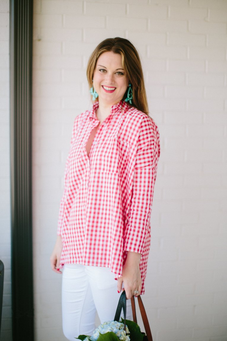 Red Gingham Shirt by fashion blogger Maggie of Polished Closets