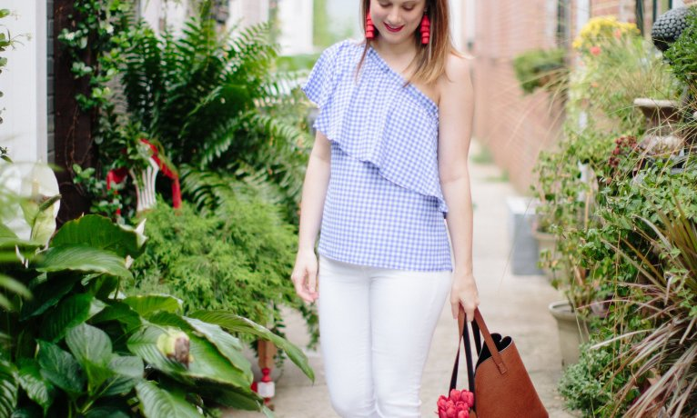 A New Way to Bare your Shoulders: The One Shoulder Gingham Top
