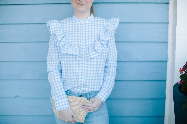 How to Style a Ruffle Gingham Top by Fashion Blogger Maggie Kern of Polished Closets
