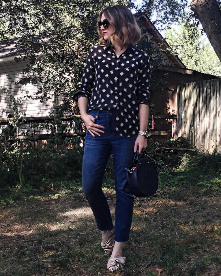 A cute and casual star print button up blouse