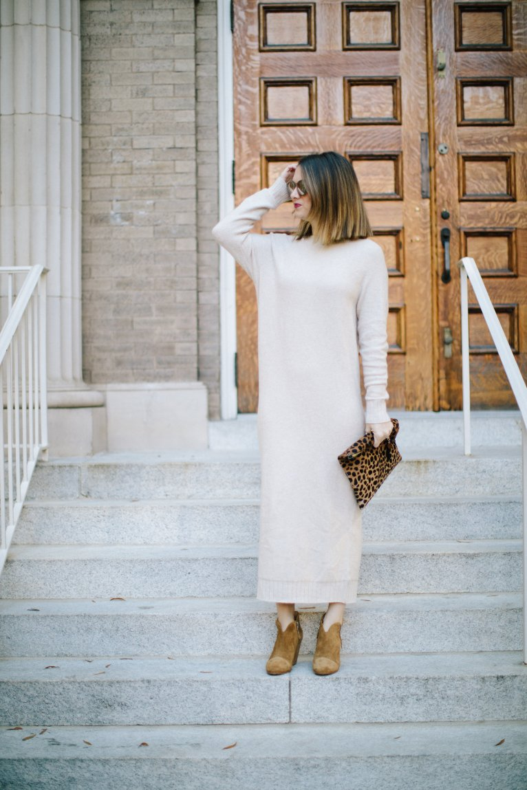 How to Wear a Neutral Sweater Dress for Fall by Style Blogger Maggie Kern of Polished Closets.