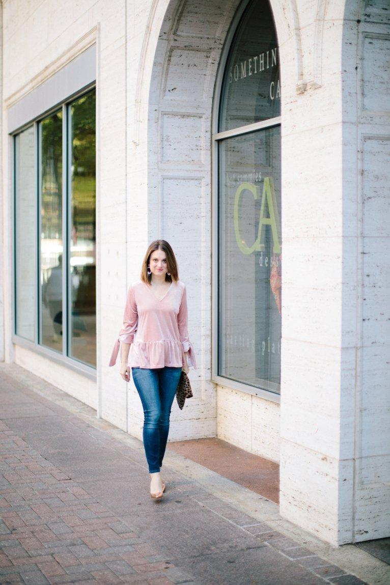 The perfect pink velvet top for the holidays by fashion and lifestyle blogger Maggie Kern of Polished Closets.