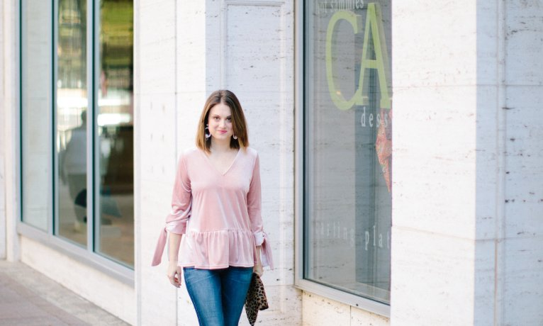 A Pink Velvet Top for the Holidays