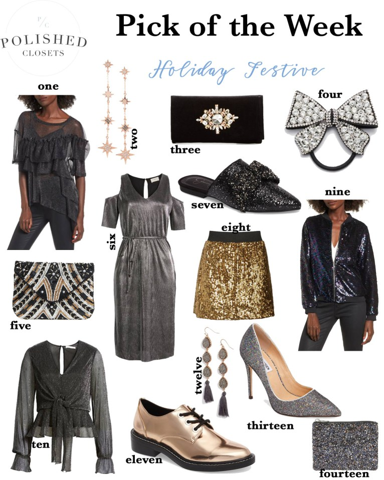 Get Holiday Festive with metallic clothing and accessories by fashion and lifestyle blogger Maggie Kern of Polished Closets.