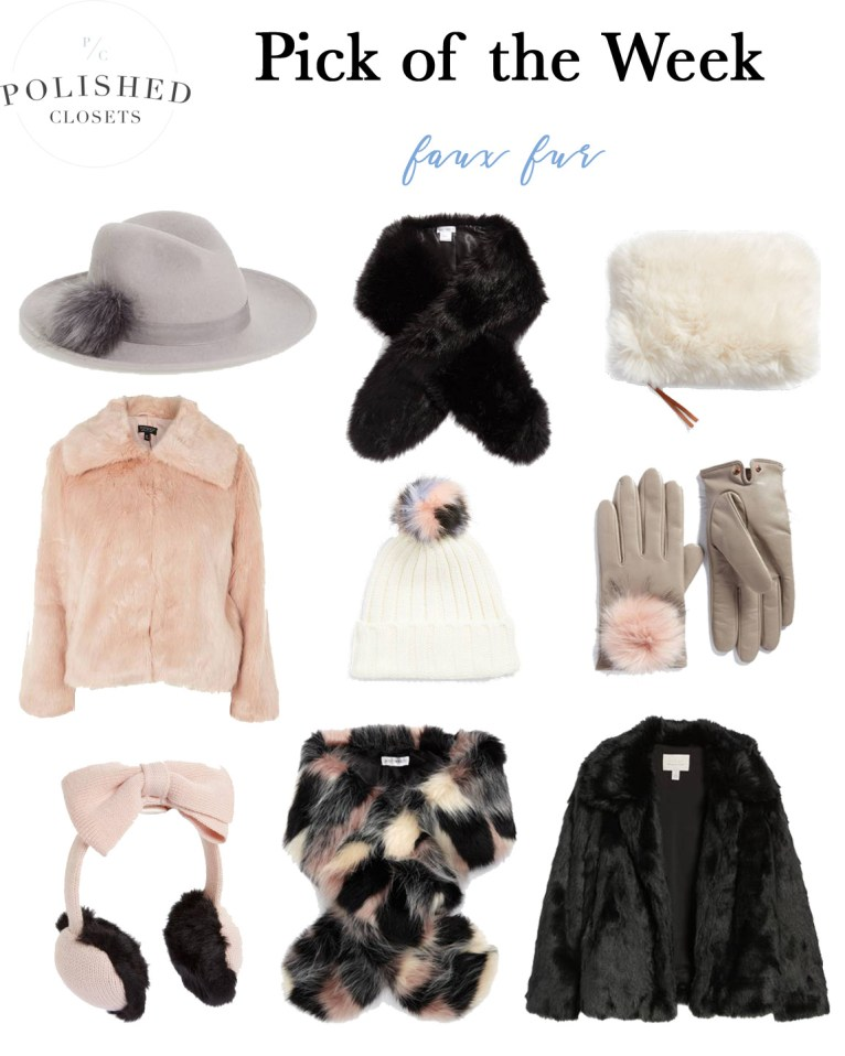The Top 9 Faux Fur Pieces for the Winter and Holiday Season by Fashion Blogger Maggie Kern of Polished Closets.