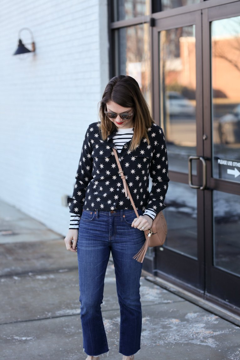 star button downed blouse