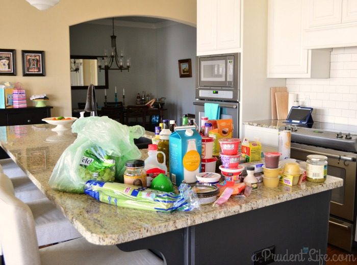 Organized fridge step one.