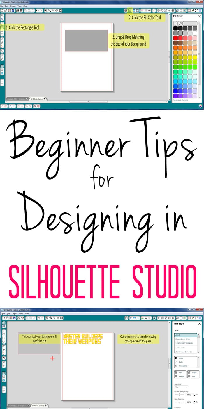 If you have a new Silhouette cutter, this tutorial will be a big help when creating your projects in Silhouette Studio. Simple screenshots show how to lay out designs on the screen and preview what they will look like BEFORE you start cutting!