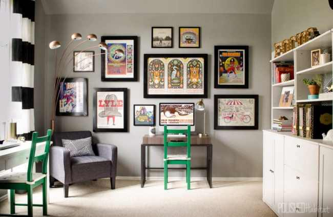 A variety of concert posters collected over the years turned into a grand gallery wall when paired with matching frames. Click for the full room tour!