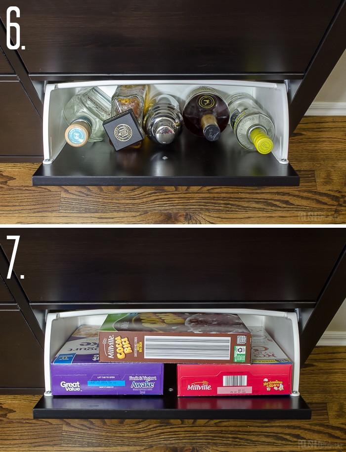 Use an IKEA shoe cabinet to add kitchen storage. Love the ideas to use it for a bar cabinet or cereal. Click to see 12 more things you store in a shoe cabinet!