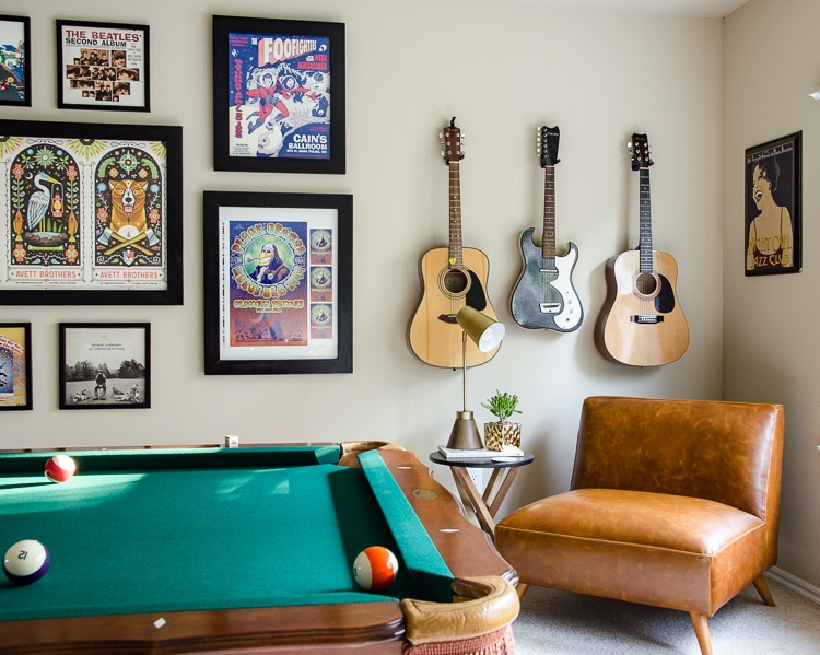 Game Room Decorating - Music Theme & Pool Table