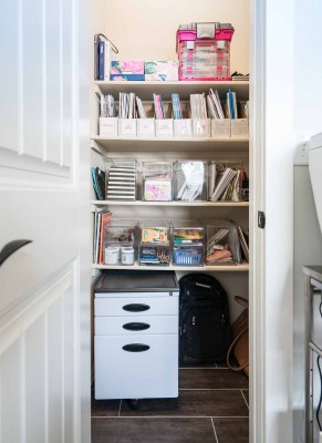 Organized office shelves with file cabinet.