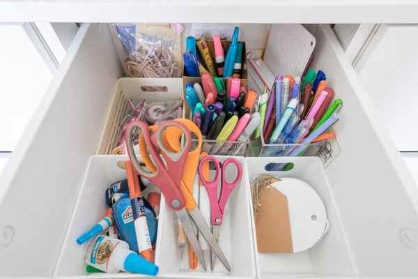 Inside an organized office drawer