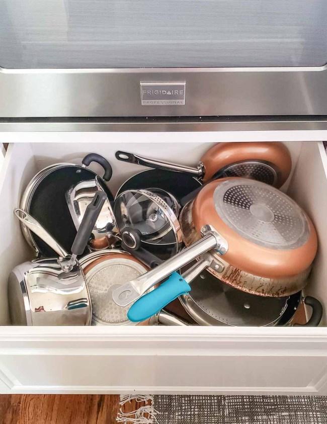 Messy pot and pan drawer