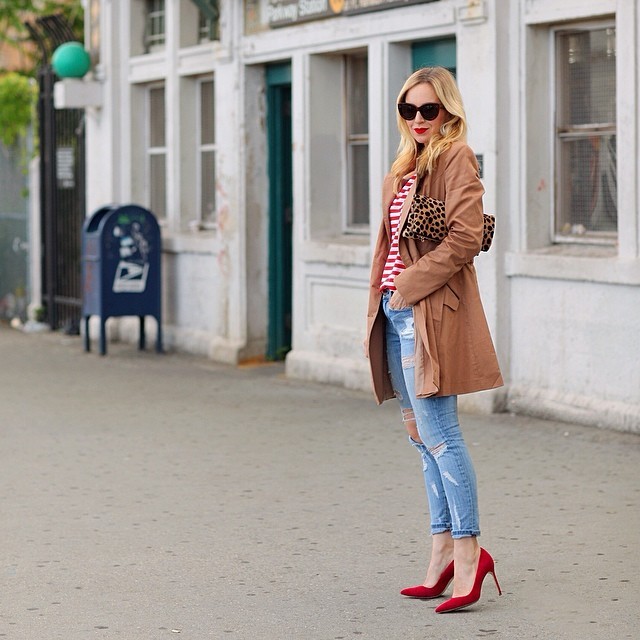 Brooklyn Blonde pattern mixing red stripes leopard print clutch red pumps outfit