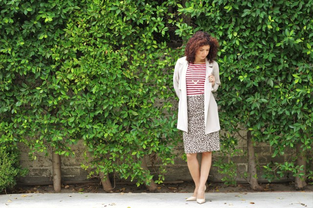 pattern mixing red stripes leopard print skirt and soft trench coat outfit