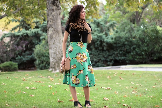 Anthropologie decade by decade green floral skirt ready for fall with leopard scarf and fringe flats