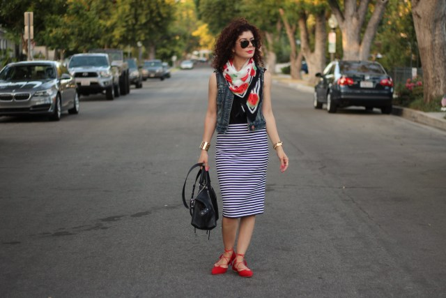 pattern mixing: striped skirt with colorful watermelon scarf