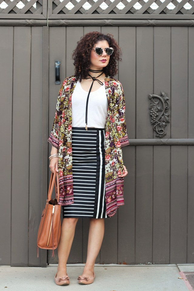 Fall kimono with Target Women's Floral Kimono Jacket Purple/Green - Merona™ and J Crew mixed strip pencil skirt