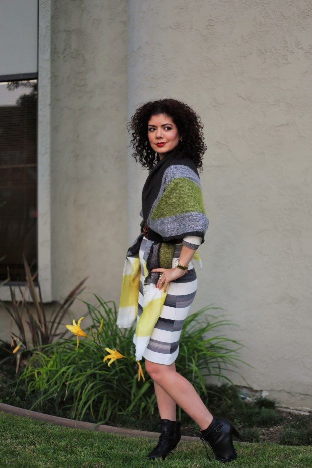 Ilymix yellow plaid cape scarf with anthropologie grey striped dress and banana republic booties
