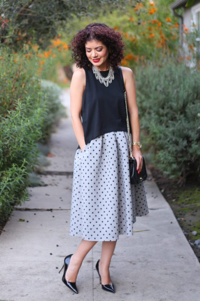 accessories make the outfit with topshop neoprene polka dot midi skirt with club monaco open back tank