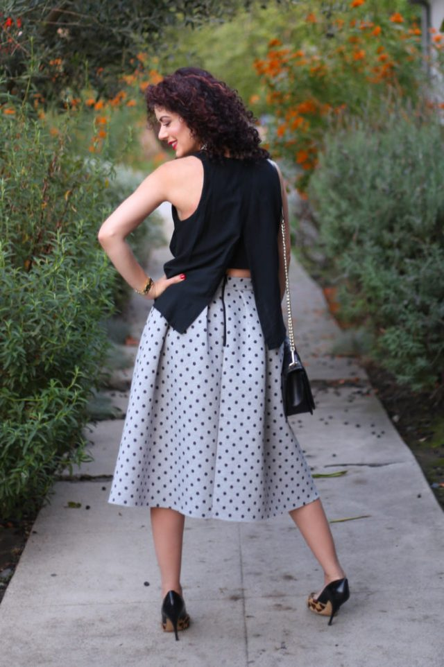 open back club monaco tank with topshop neoprene midi skirt and leopard kate spade heels