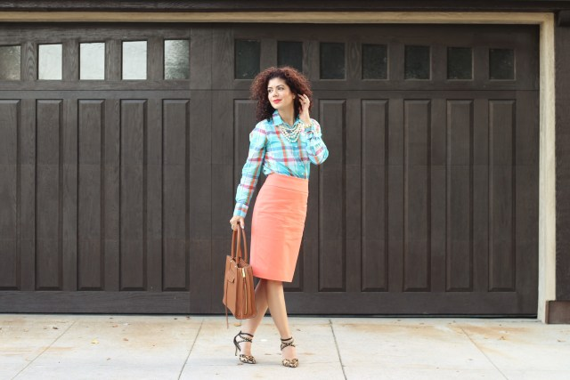 Fall transition outfit with J crew plaid shirt, pearls and J crew coral pencil skirt and leopard studded heels