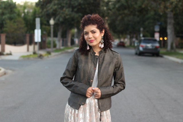 Leather jacket and pleated skirt on polished whimsy blog