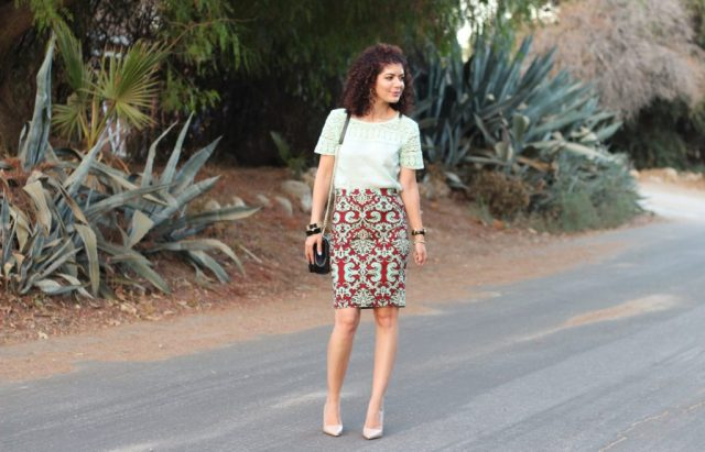 Fall transition outfit with The Limited maroon and mint print skirt with J Crew Factory crochet top