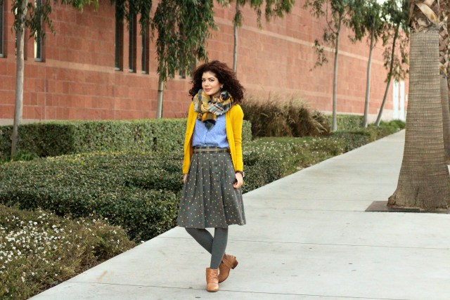 Polka dots and plaid blanket scarf with mustard cardigan