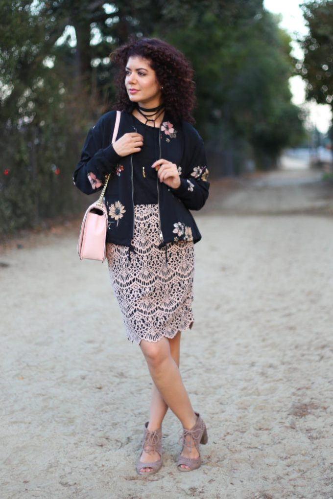 Halogen lace skirt with target floral bomber