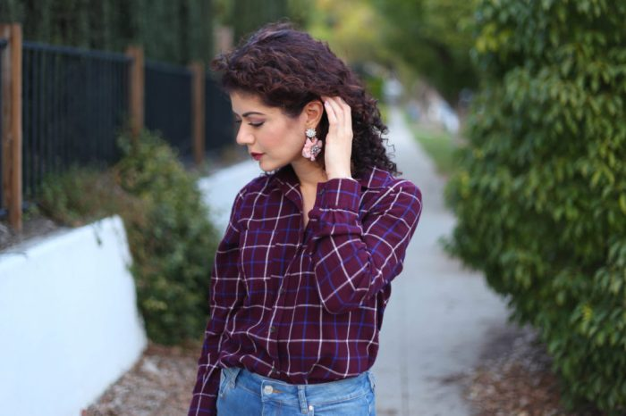 burgundy and blush with plaid shirt and baublebar primrose soft floral drops earrings