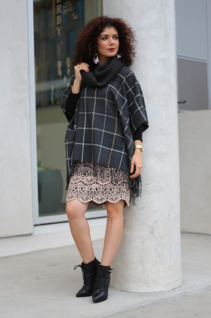 Ideas on how to wear a poncho for work.