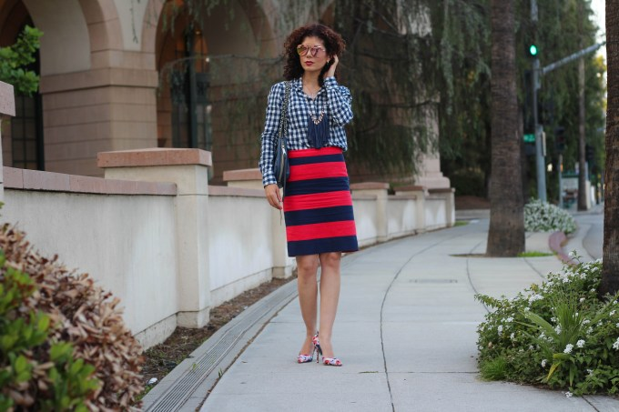 Everyday styple blogger polished whimsy wears a triple pattern mix outfit with gingham stripes and floral print