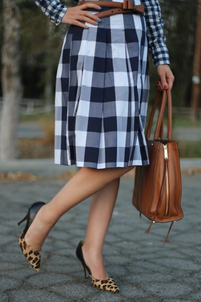 Triple pattern mix with gingham check and leopard print