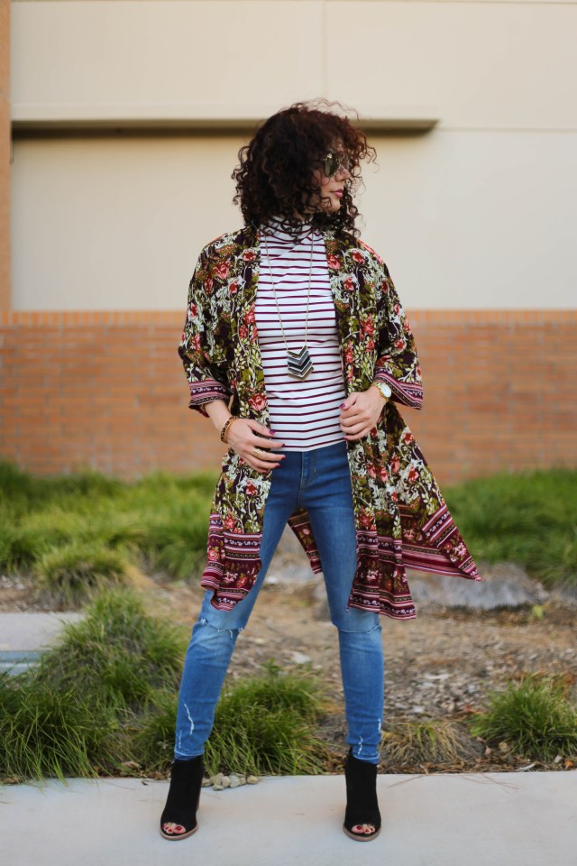 One item four ways for Romwe burgundy turtleneck and Target floral kimono