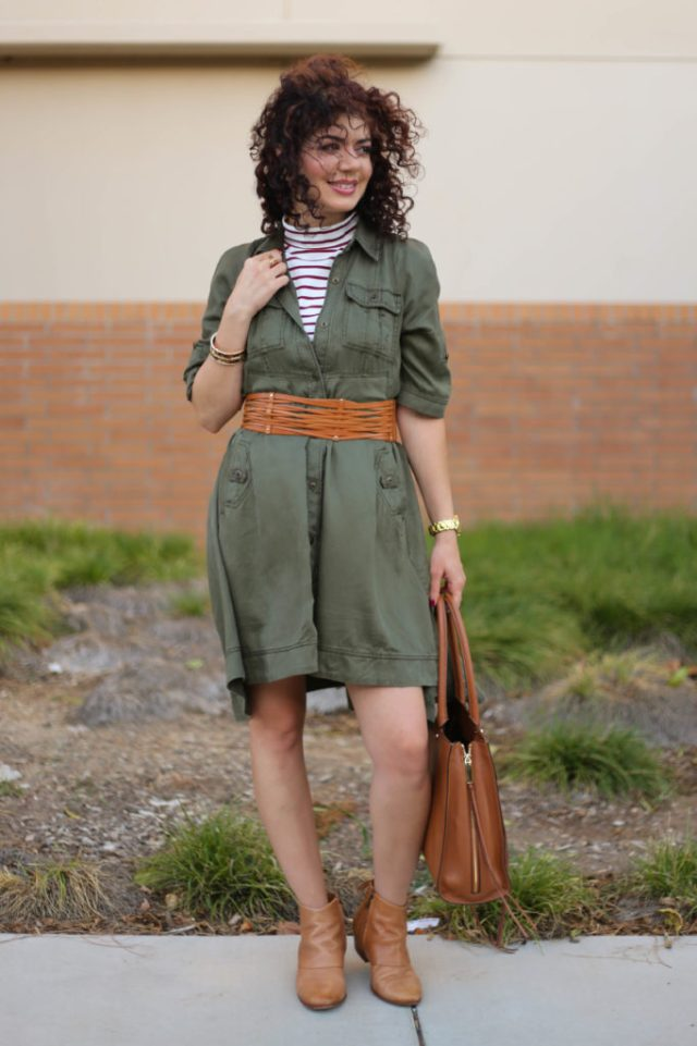 One item four ways for Romwe burgundy turtleneck and anthropologie olive green shirt dress