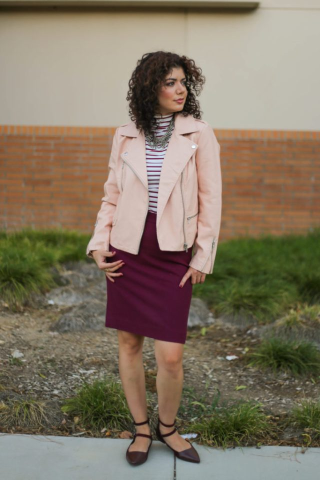 One item four ways for Romwe burgundy turtleneck with pink leather jacket