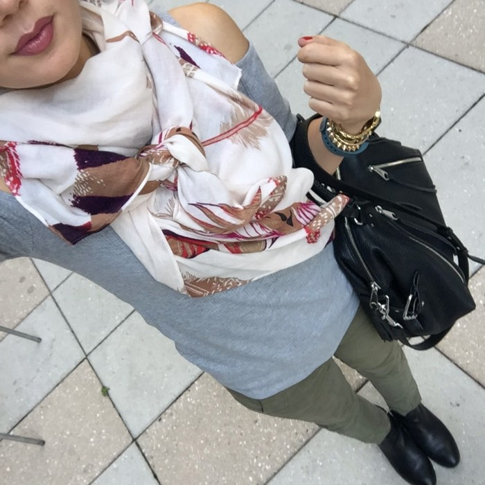 New York city style with scarf and moto bag